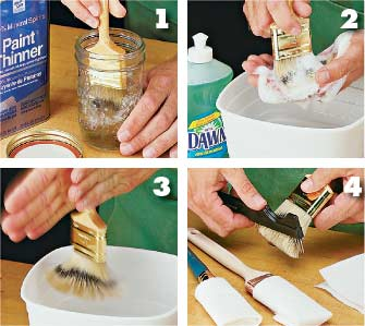Four steps for cleaning dirty brushes